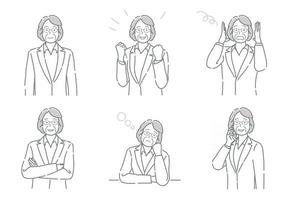 Set Of Vector Businessperson With Different Poses Expressing A Variety Of Emotions Isolated On A White Background