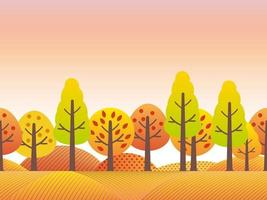 Seamless Autumn Countryside Landscape With Trees, Grassland, And Hills In Autumn Colors. Vector Illustration. Horizontally Repeatable.