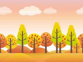 Seamless Autumn Countryside Landscape With Trees, Grassland, And Hills In Autumn Colors Isolated On A White Background. Vector Illustration. Horizontally Repeatable.