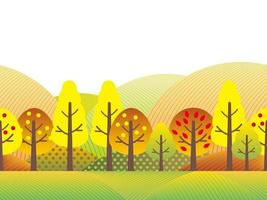 Seamless Countryside Landscape With Trees, Grassland, And Hills In Autumn Colors. Vector Illustration. Horizontally Repeatable.