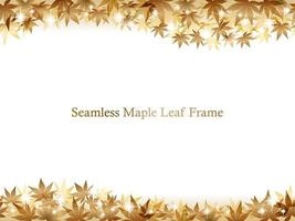 Seamless Gold Vector Maple Leaf Frame With Text Space Isolated On A White Background. Horizontally Repeatable.