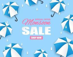 Monsoon season sale. paper art style design with raining drops, umbrella on blue background. Vector. vector