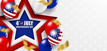 4 de julio feliz día de la independencia de estados unidos. diseño con globos y bandera americana. vector. vector