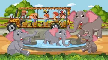Grupo de elefantes en escena de safari durante el día con niños en el coche turístico vector
