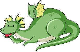 Simple cartoon character of green dragon isolated vector