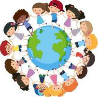 Many children holding hands and standing around the Earth vector