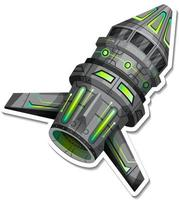 A sticker template with UFO or satellite isolated vector
