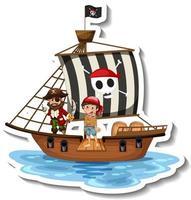 una plantilla de pegatina con piratas en el barco aislado vector