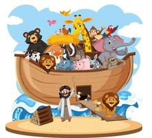 Noah's Ark with Animals isolated on white background vector