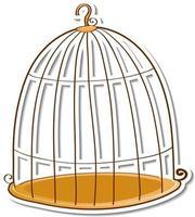 Empty bird cage sticker on white background vector