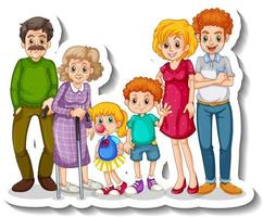 A sticker template with big family members cartoon character vector