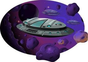 nave espacial con asteroides en la escena de la galaxia. vector