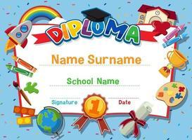 Cute motivational cartoon certificate for children vector