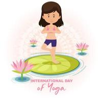 International Day of Yoga banner with woman doing yoga exercise vector
