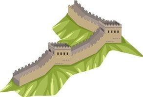 gran muralla china en estilo de dibujos animados aislado vector