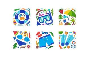 Swimming Activity Summer Icons vector