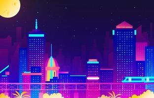 Skyscraper Neon Light Blue and Purple Background vector