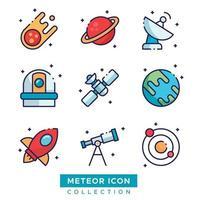 objetos del espacio exterior conjunto de iconos vector