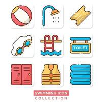 Swimming Pool Stuff Icons Collection vector