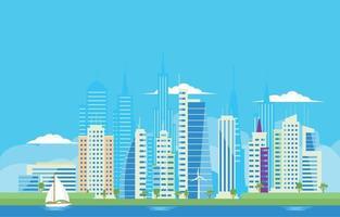Modern Skycraper City Building Background vector