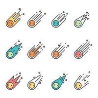 Set of Meteor Icon vector