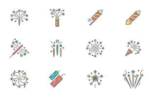 Colorful Fireworks Icon vector