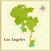 mapa de la ciudad de los angeles en papel vector