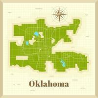 mapa de la ciudad de oklahoma en papel vector