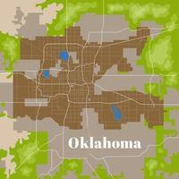 mapa de la ciudad de oklahoma vector