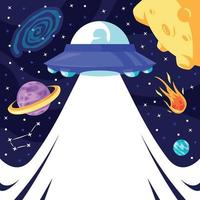 UFO in Outer Space Background vector