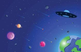 Space With Plane And Ufo Background vector