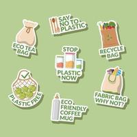 conjunto de pegatinas de elementos libres de plástico vector