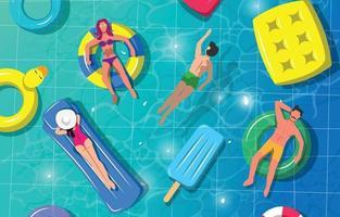 Swimming Activity On Summer Season vector
