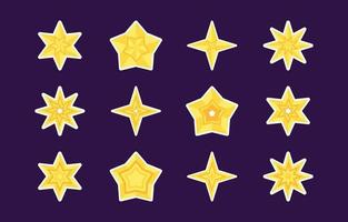 Yellow Star Sticker Collection vector