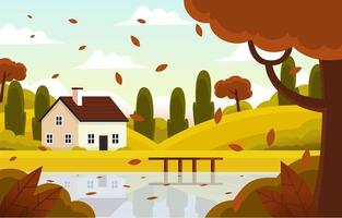 Fall Season Scenery vector
