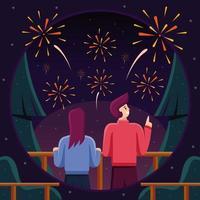 Couple Enjoying Firework Show vector