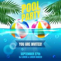 Pool Party Invitation Poster with Swimming Pool Scenery and Two Beach Ball vector