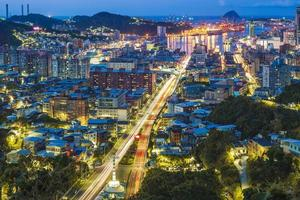 Cityscape of Keelung city and harbor in Taiwan photo