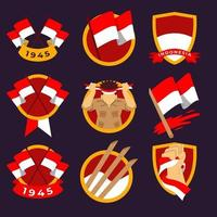 Set of Badges for Indonesian Independence Day vector