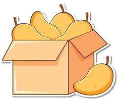 Sticker template with many mangos in a box vector