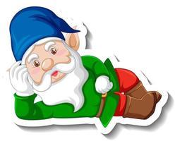 A sticker template with garden gnome or dwarf cartoon chracter vector
