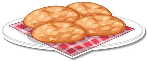 Cookies in plate sticker on white background vector
