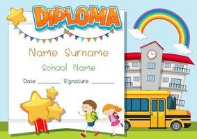 plantilla de diploma o certificado para niños en edad escolar vector