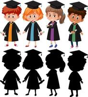 Set of different kids wearing graduation gown with silhouette vector