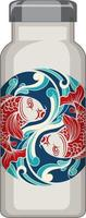 A white thermos bottle with koi carp pattern vector