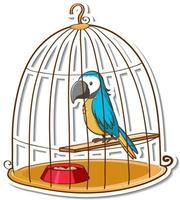 A parrot bird in a cage sticker vector