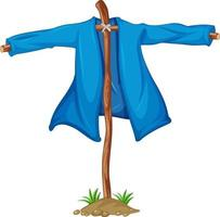 Garden scarecrow without head in cartoon style isolated vector