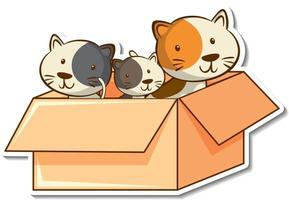 Cat family members in the box sticker vector