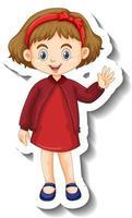 niña en vestido rojo pegatina de personaje de dibujos animados vector