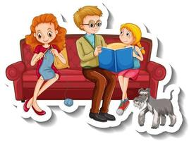 A sticker template with family members doing different activities on sofa vector